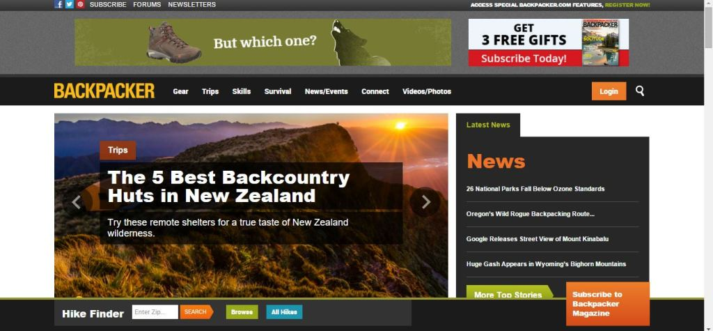 Backpacker mag home page